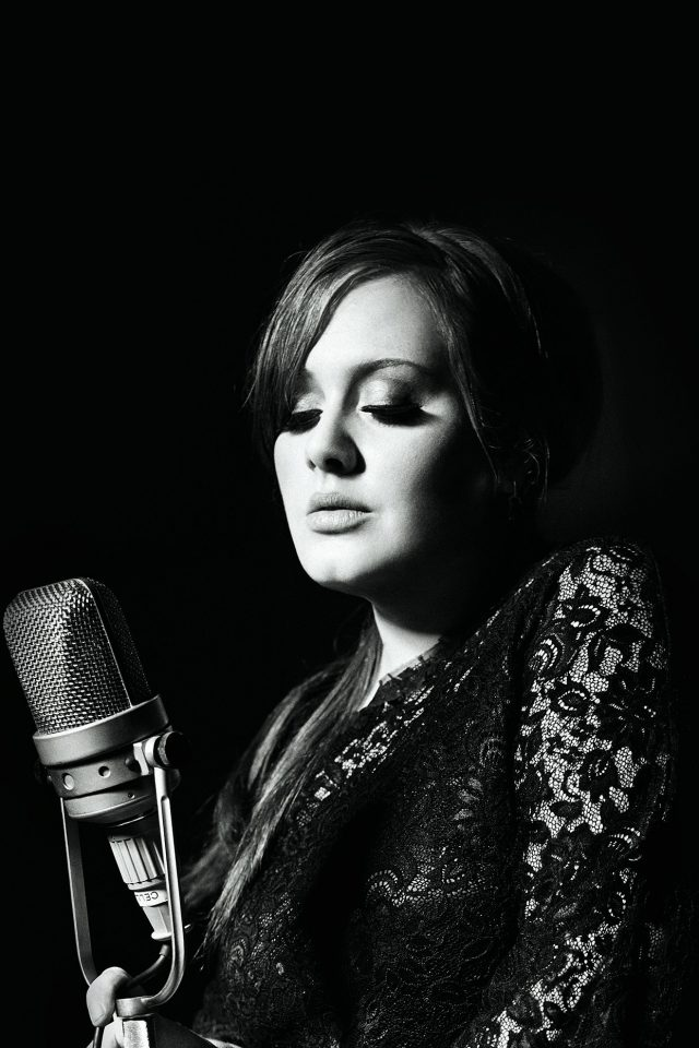 Adele Music Singer Dark Bw Celebrity Android wallpaper