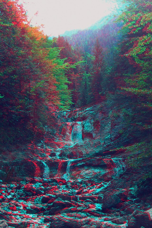Anaglyph Mountain Green Nature Art Android wallpaper