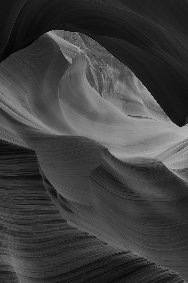 Antelope Canyon Bw Black Mountain Rock Nature Android wallpaper