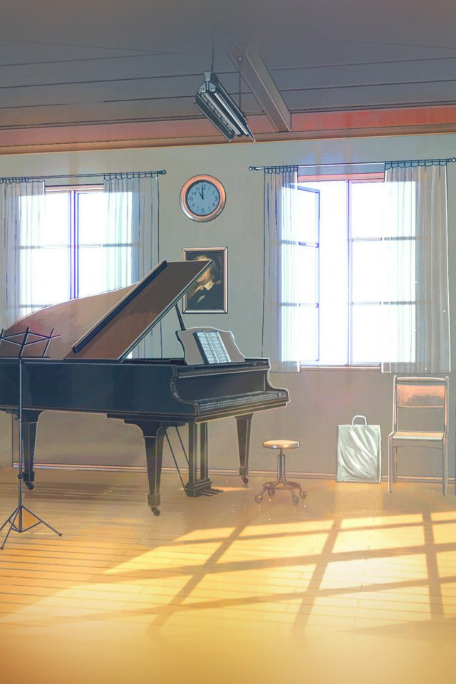 Arseniy Chebynkin Music Room Piano Illustration Art Android wallpaper
