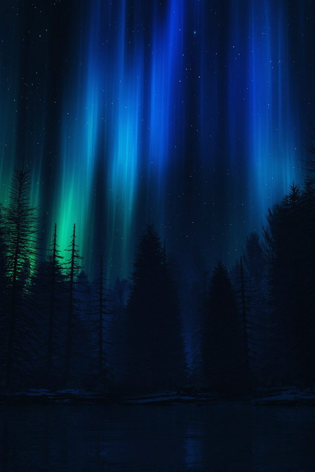 Aurora Night Sky Dark Blue Nature Art Android wallpaper