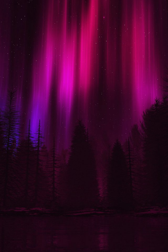 Aurora Night Sky Dark Red Nature Art Android wallpaper