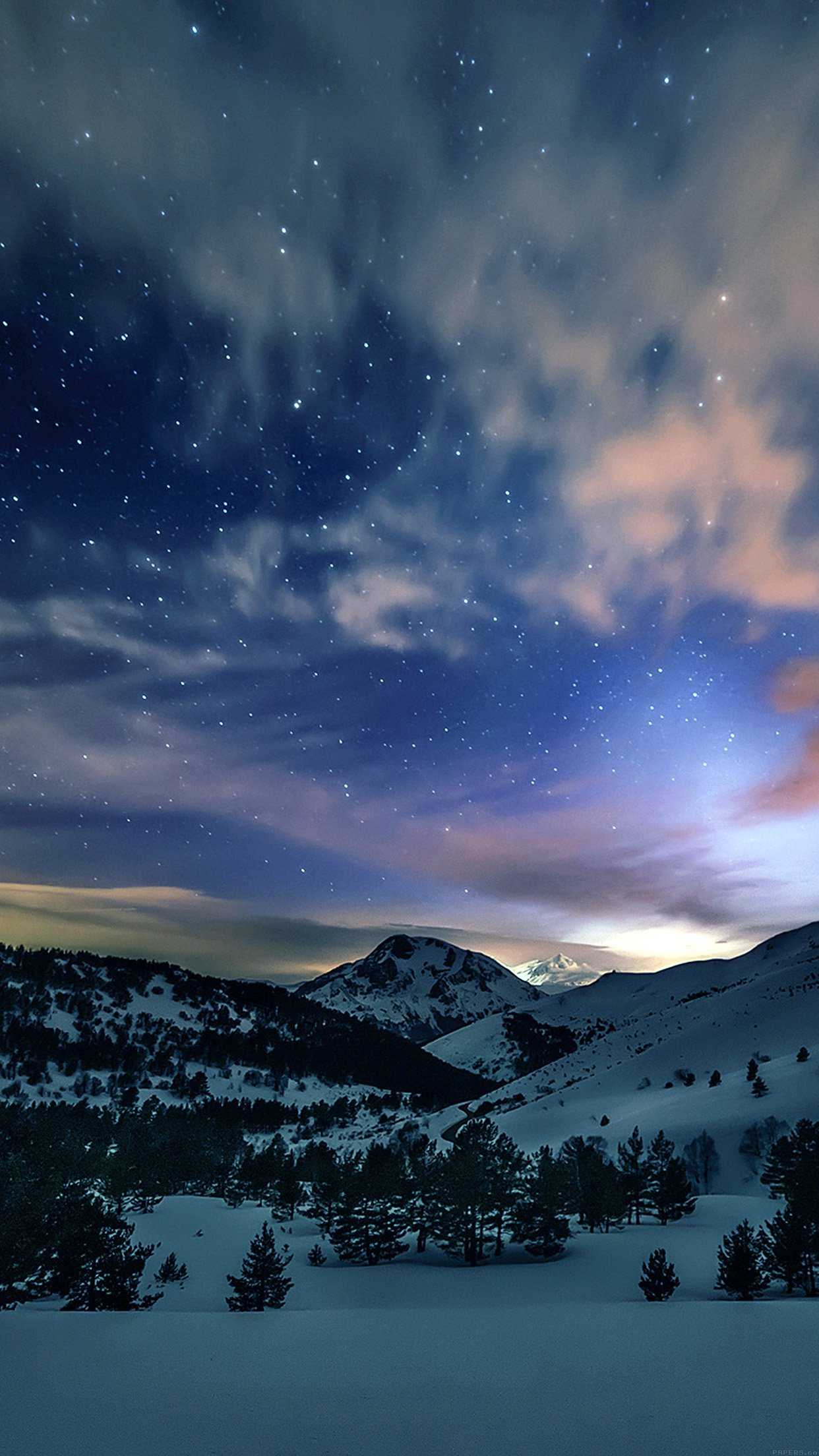 Aurora Star Sky Snow Mountain Winter Nature Android wallpaper