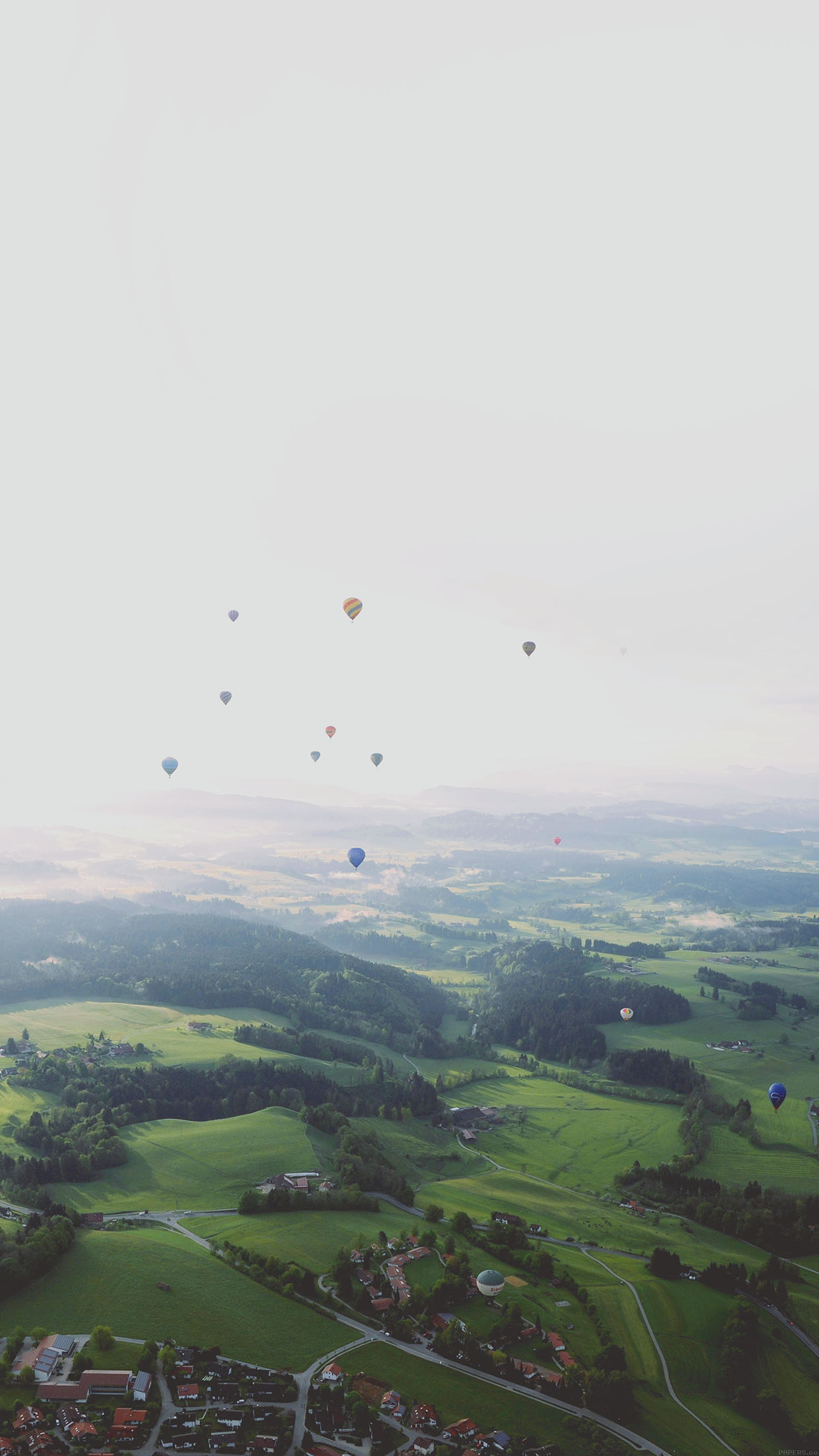 Balloon Party From Air Wide Mountain Nature Android wallpaper