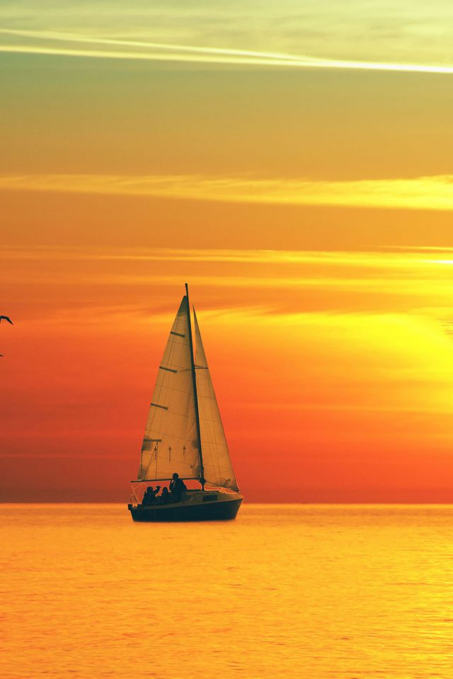 Boat At Sunset Sea Nature Android wallpaper