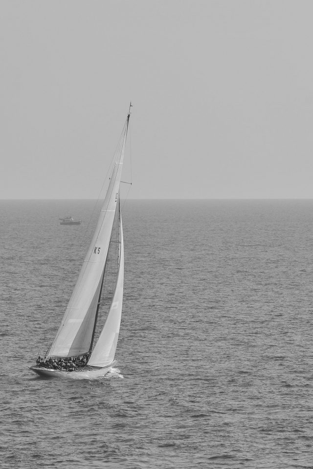 Boat Dark Bw Sea Ocean Nature Android wallpaper