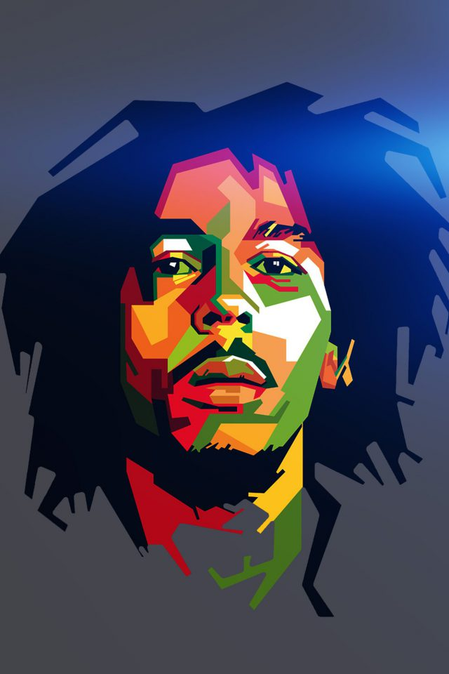 Bob Marley Blue Art Illust Music Reggae Celebrity Android wallpaper