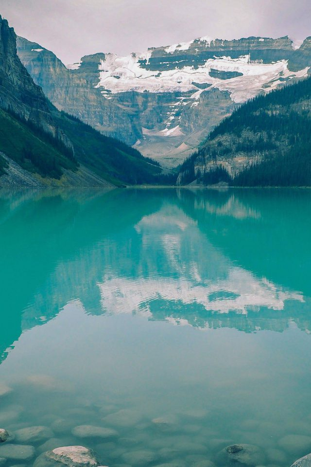 Canada Lake Blue Louise Green Water Nature Android wallpaper