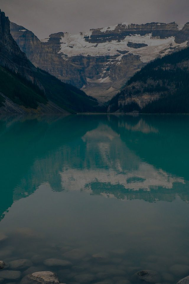 Canada Lake Dark Louise Green Water Nature Android wallpaper