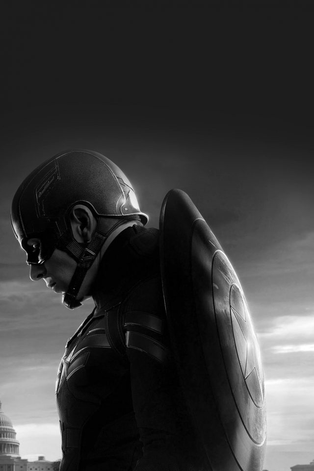 Captain America Sad Hero Film Marvel Dark Bw Android wallpaper