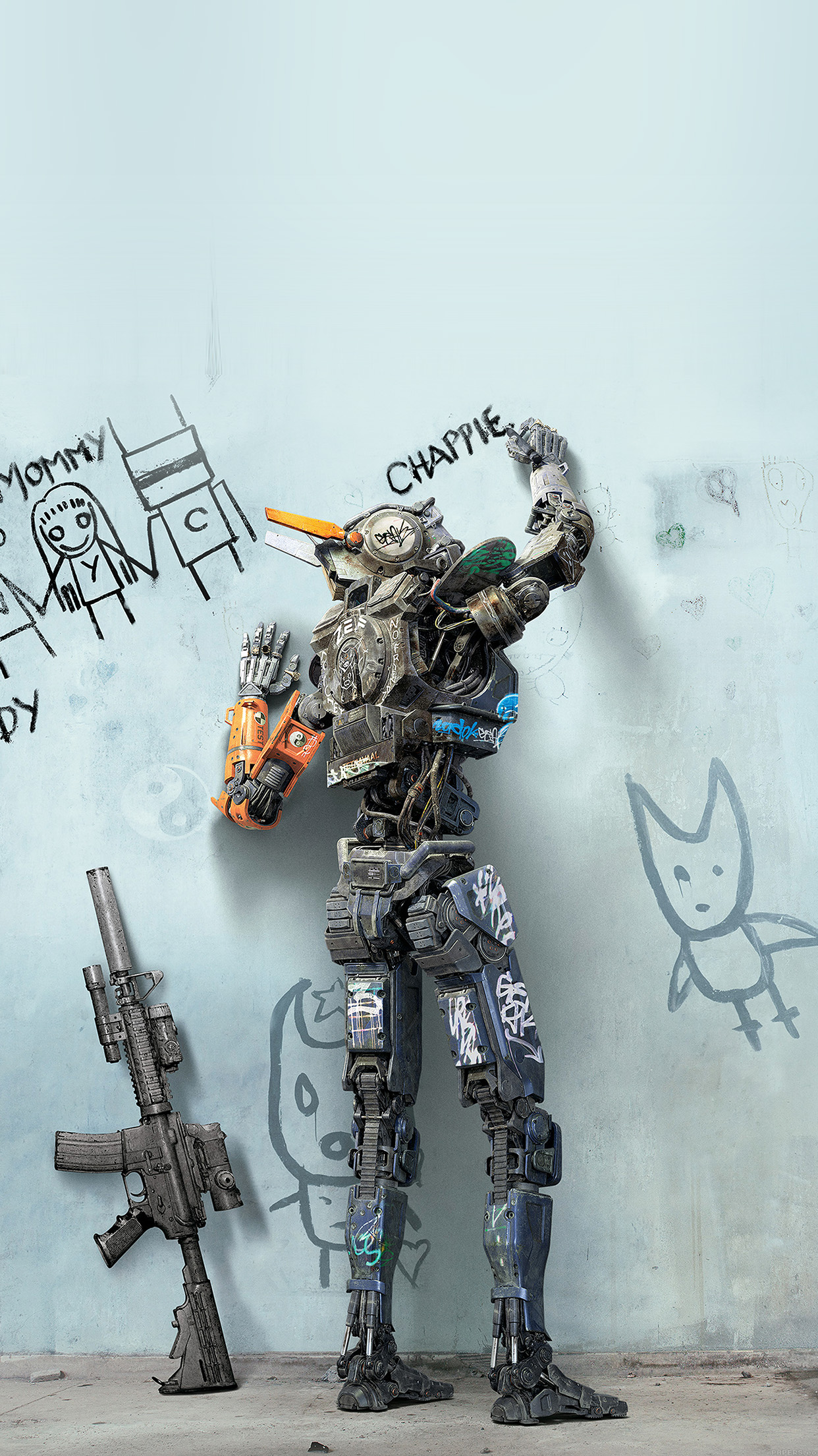 Chappie Robot Art Film Poster Android Wallpaper Android Hd Wallpapers