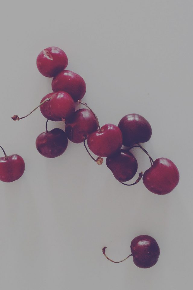 Cherry Red Dark Paula Borowska Fruit Nature Android wallpaper