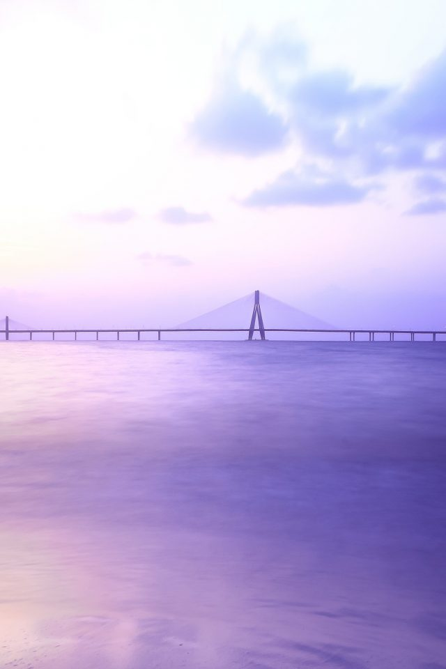City Bridge Purple River Nature Android wallpaper