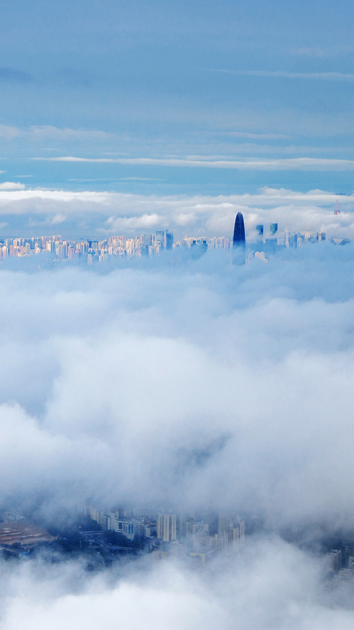 City In Fog Cloud Nature Sky Android wallpaper