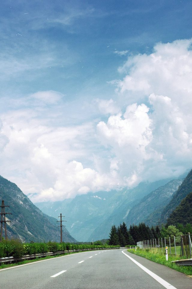 Clouds Mountain Road Sunny Nature Android wallpaper