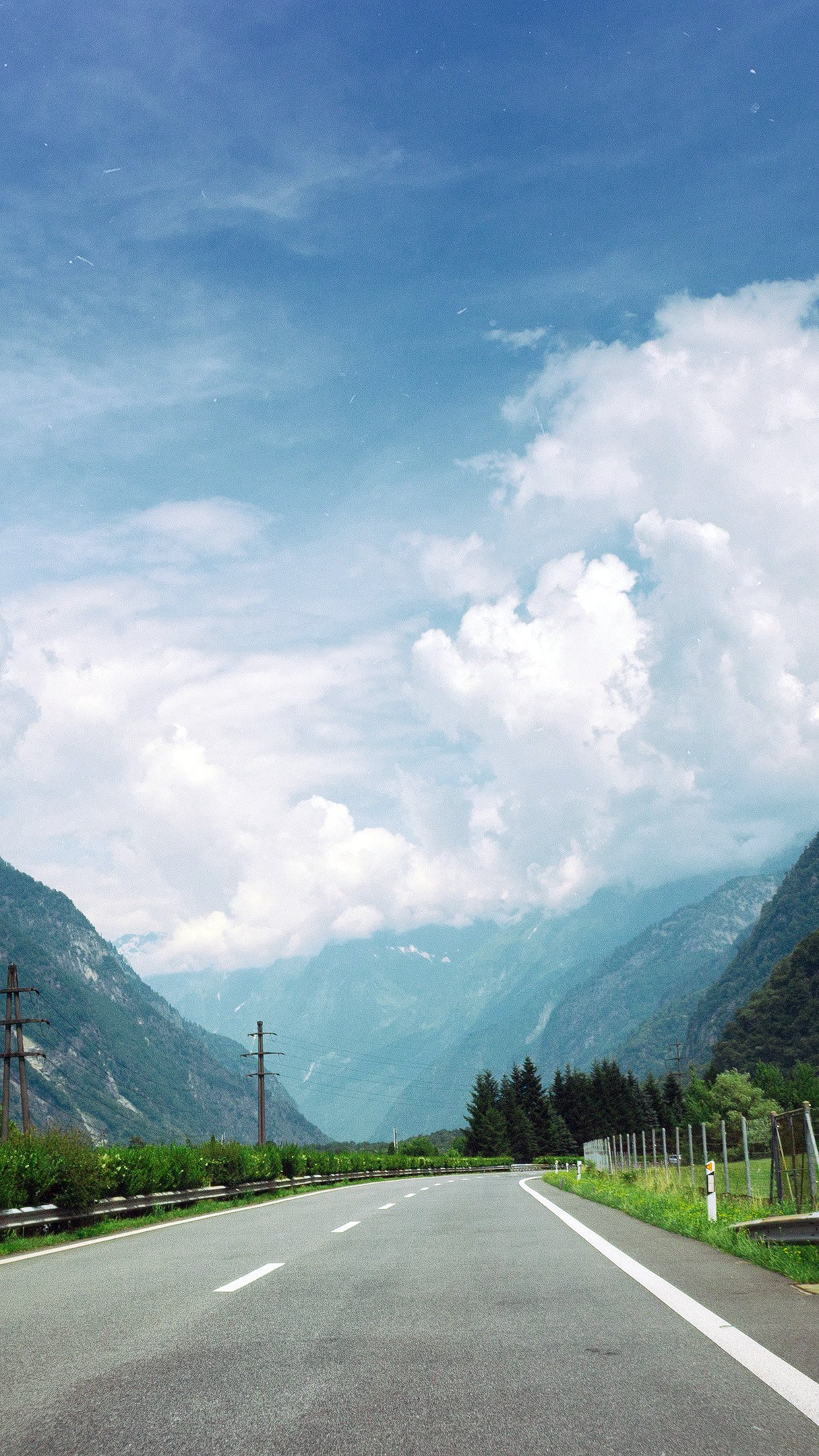 Best Wallpaper Mountain Smartphone - Clouds-Mountain-Road-Sunny-Nature  Gallery_14390.jpg