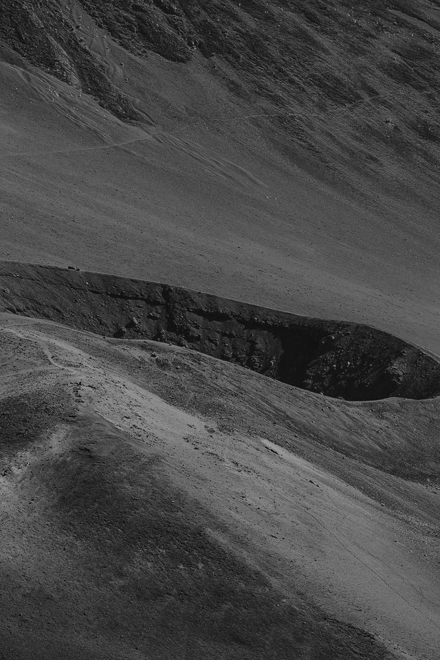 Crater Mountain Dark Bw Nature Android wallpaper