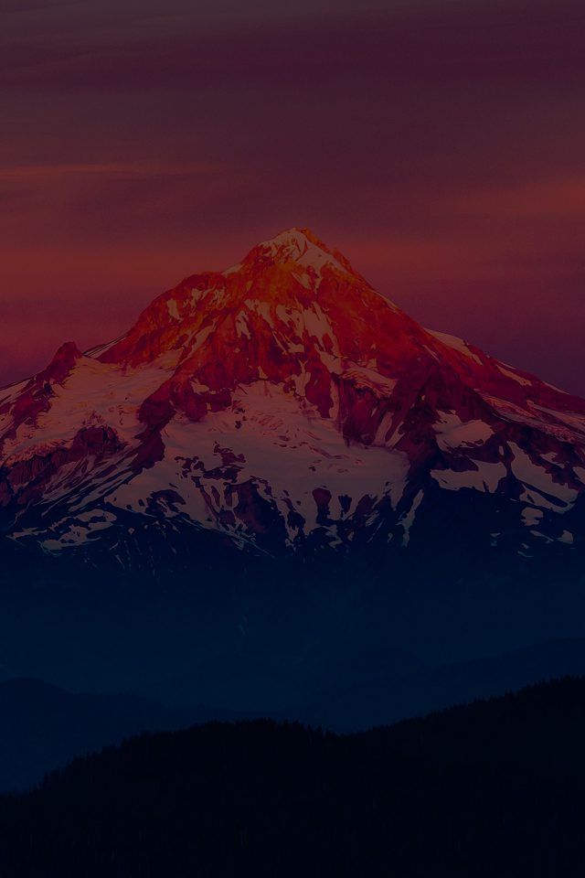 Dark Sunset Snow Mountain Nature Android wallpaper