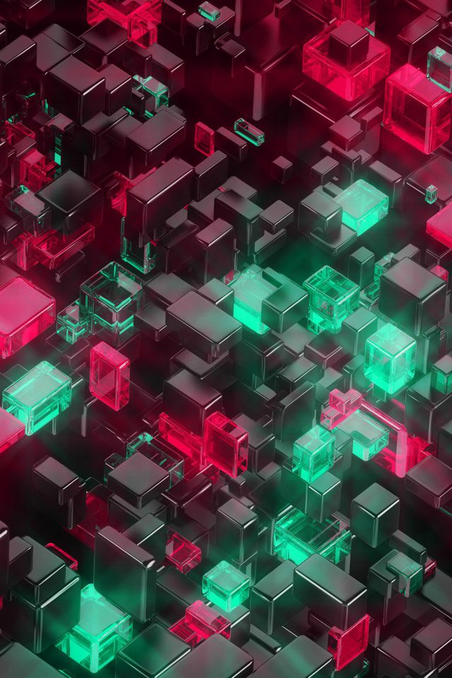 Digital Art Green Red 3d Pattern Android wallpaper