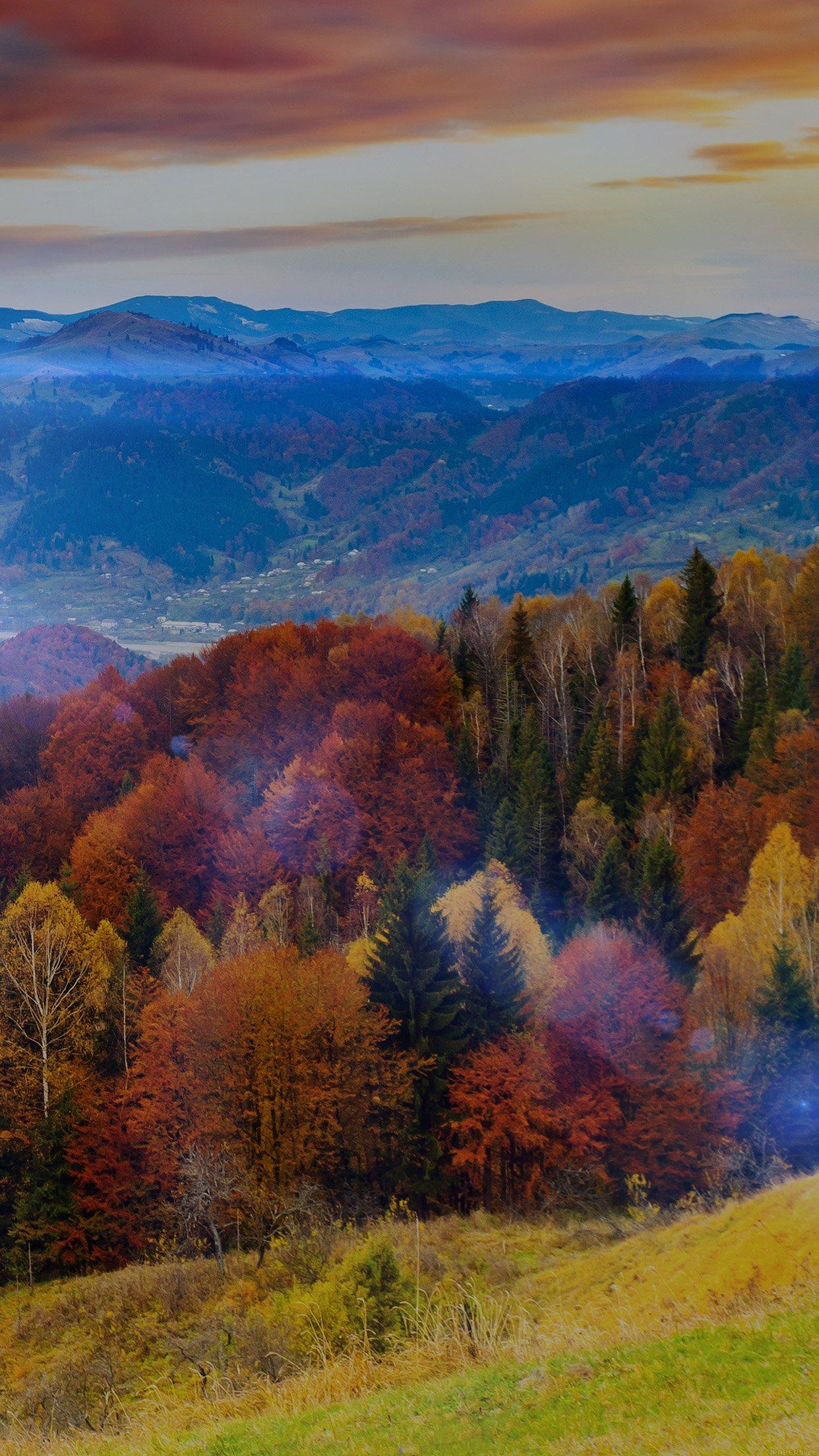 Fall Mountain Fun Red Orange Tree Flare Nature Android ...