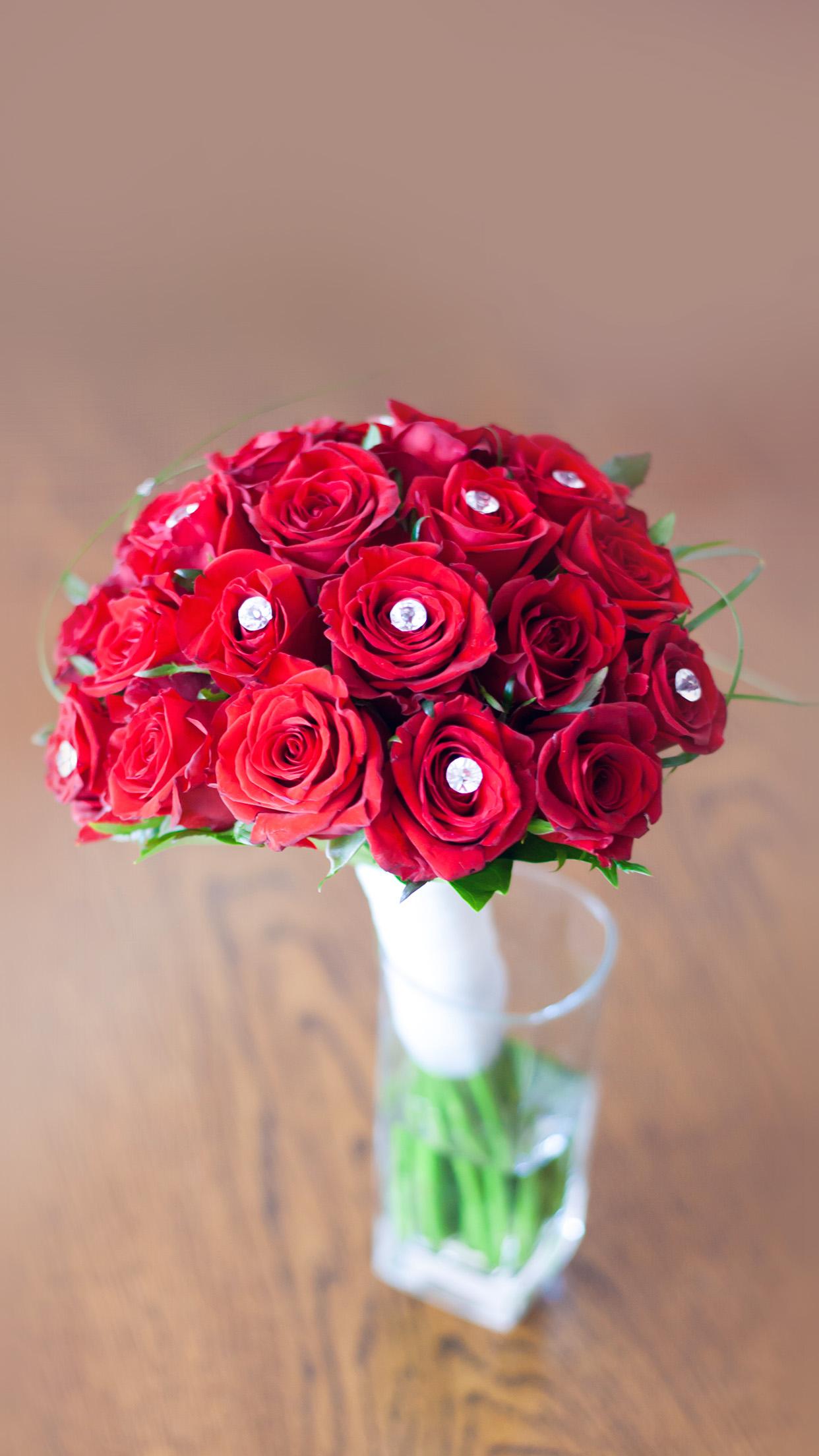 Flower Red Vase Life Art Nature Rose Sprin Android Wallpaper