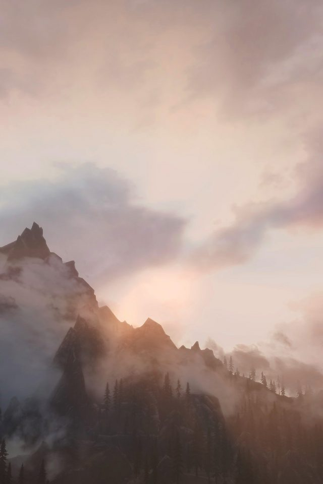 Foggy Mountain Sunshine Nature Android wallpaper