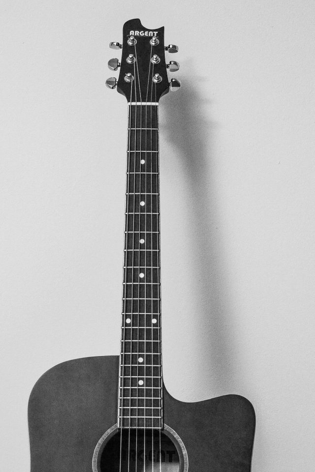 Guitar Art Bw Dark Music Son Android wallpaper