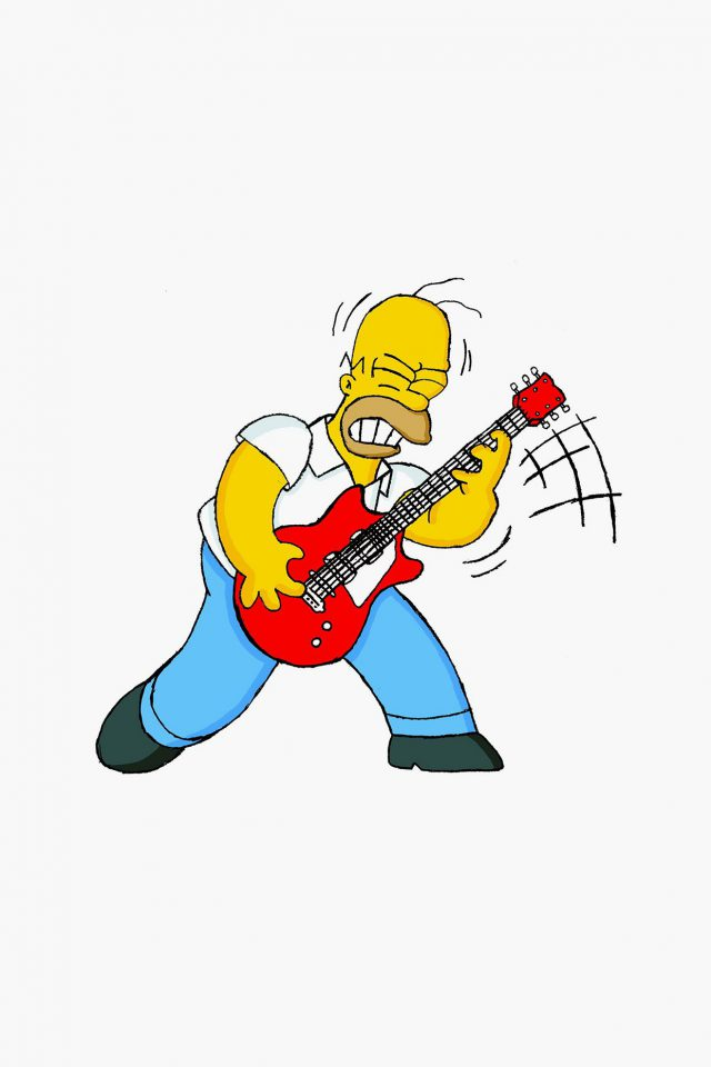 Homer Simpson Music White Illustration Art Android wallpaper