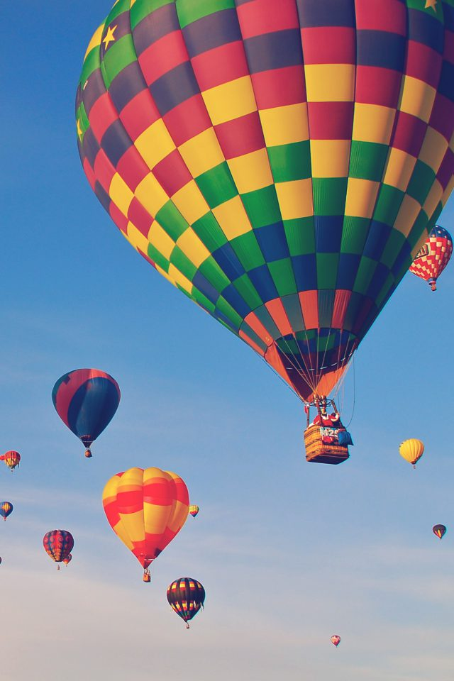 Hot Air Balloon Party Nature Sky Android wallpaper