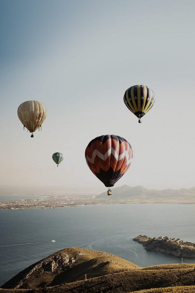Hot Air Balloon Sky Seaside Nature Android wallpaper