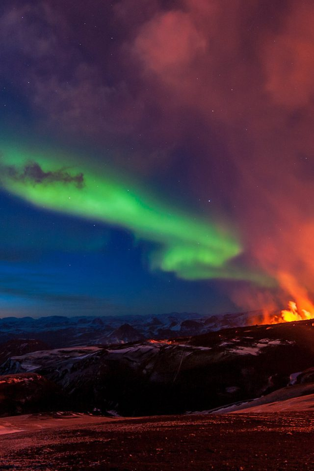 Iceland Mountain Fire Nature Android wallpaper