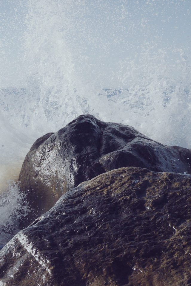 Justin Leibow Sea Wave Rock Beach Nature Android wallpaper
