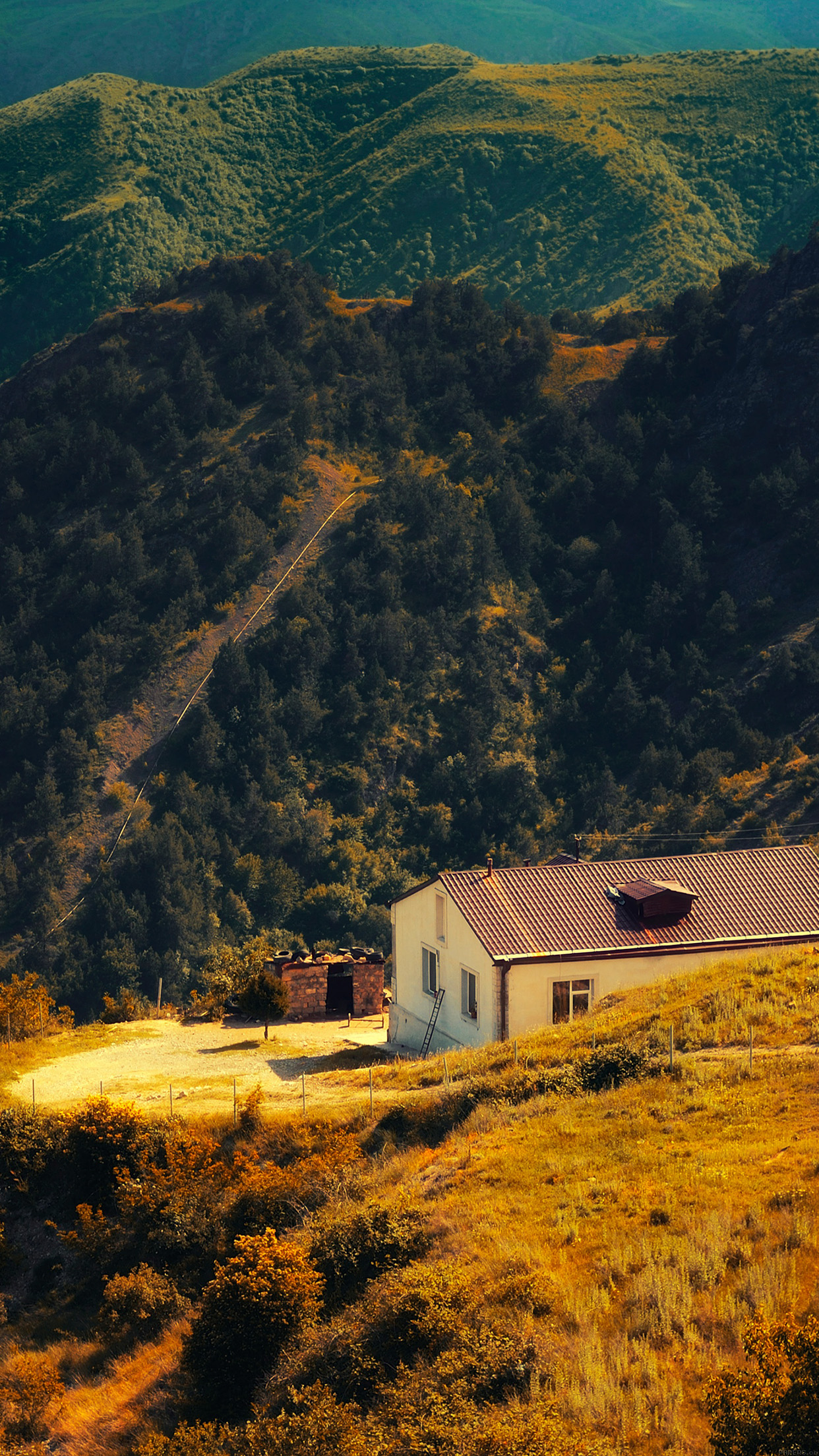 Karabakh Armenia Nature With Mountain House Fall Android wallpaper