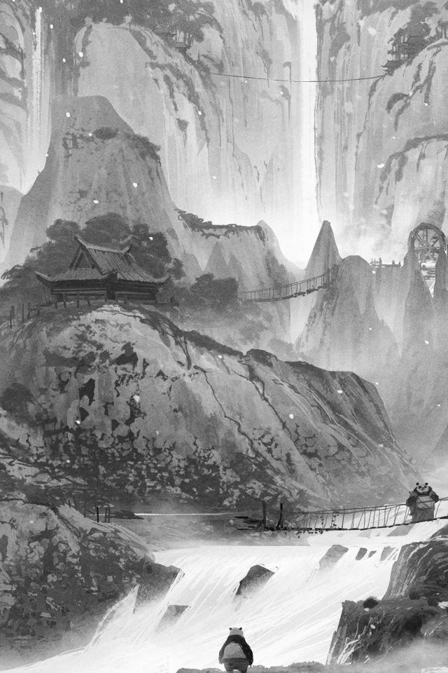 Kungfu Panda Background Art Illust Film Dark Bw Android wallpaper