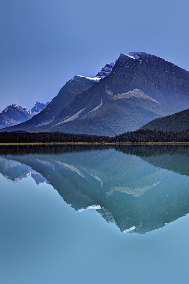 Lake Mountain Reflection Nature Blue Android wallpaper