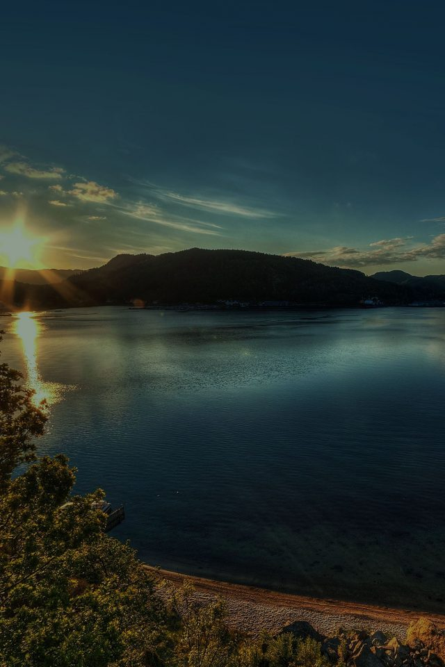 Lake Peace Lazy Sundown Nature Android wallpaper
