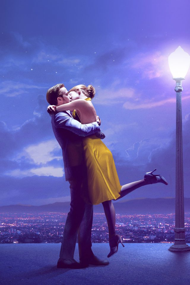 Lalaland Film Love Illustration Art Purple Android wallpaper