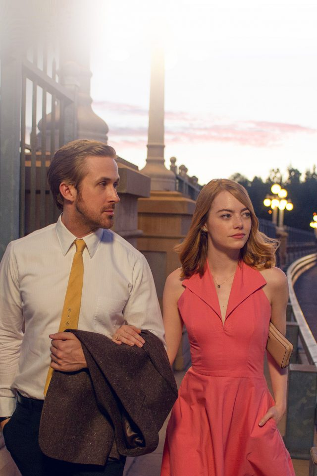 Lalaland Ryan Gosling Emma Stone Red Film Android wallpaper
