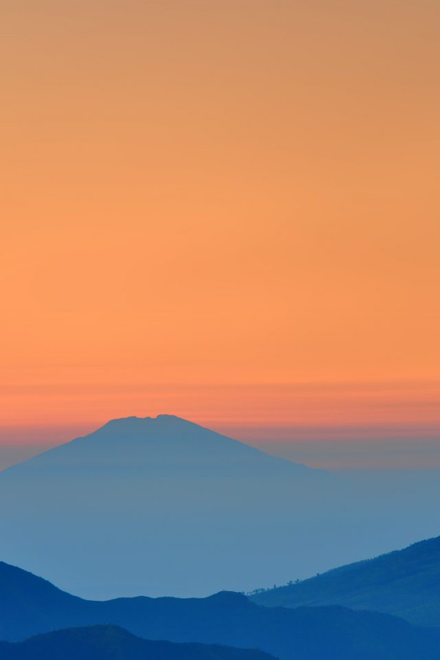Landscape Sunrise Mountain Nature Red Blue Android wallpaper