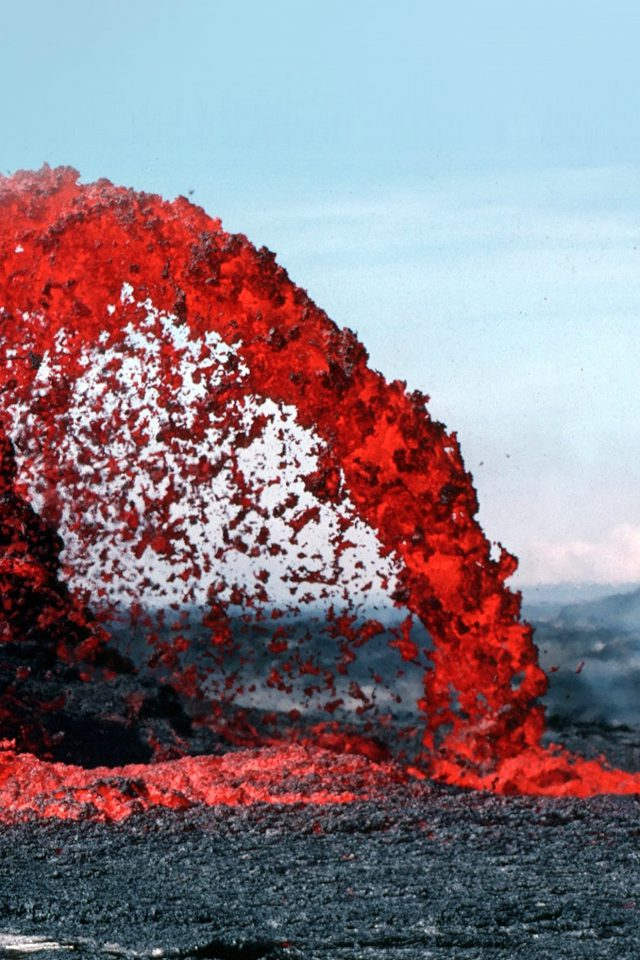 Lava Volcanic Magma Red Nature Fire Danger Mountain Android wallpaper
