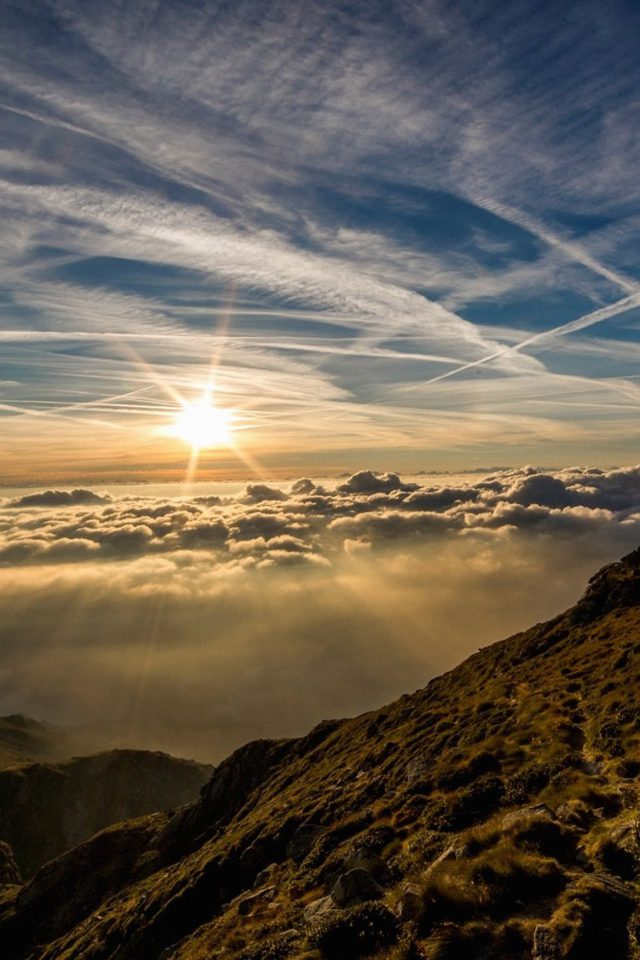 Morning Mountain Sky Nature Shine Android wallpaper
