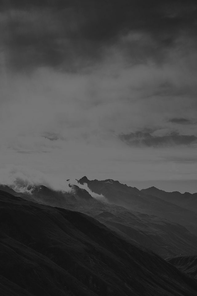 Mountain Art Fog Nature Dark Bw Android wallpaper