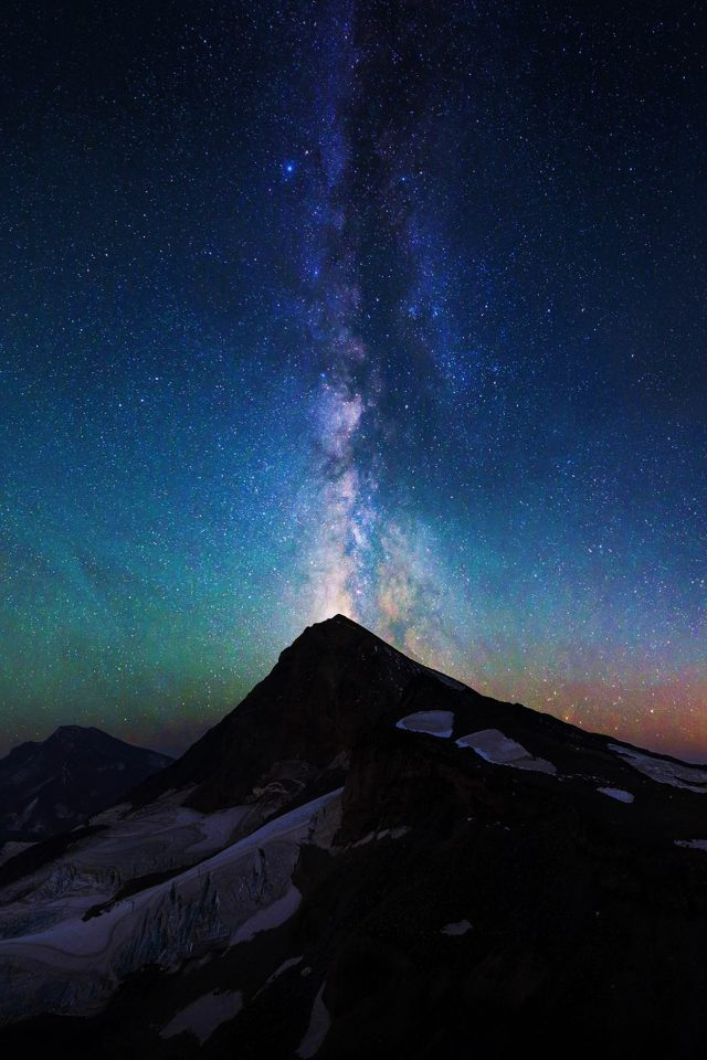 Mountain Aurora Sky Night Star Nature Milky Way Android wallpaper