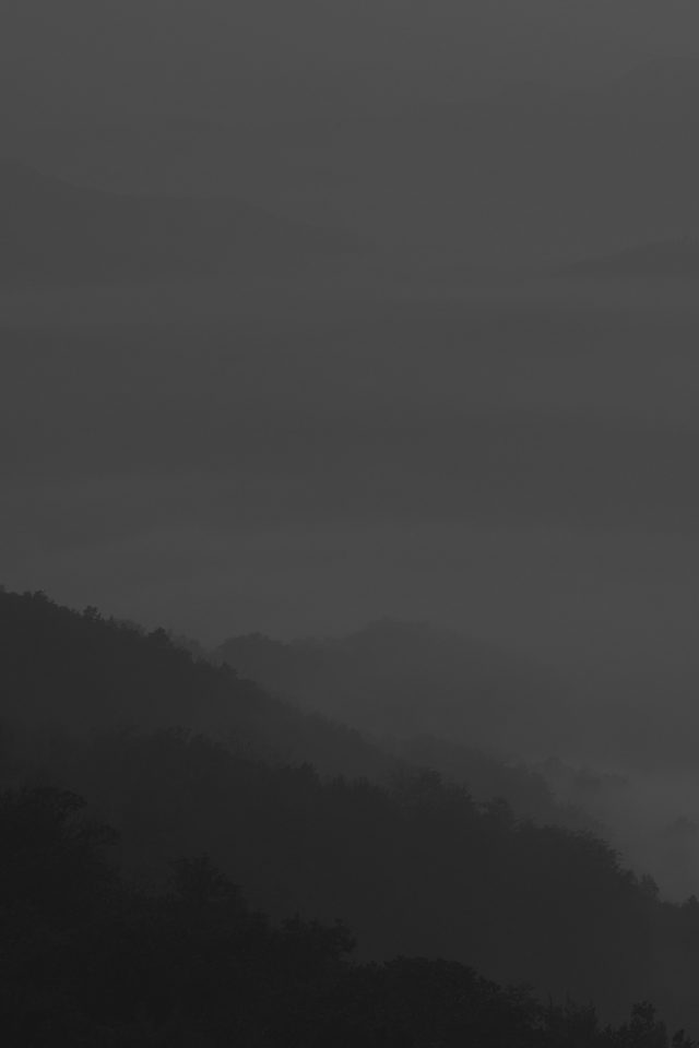 Mountain Fog Dark Nature Android wallpaper