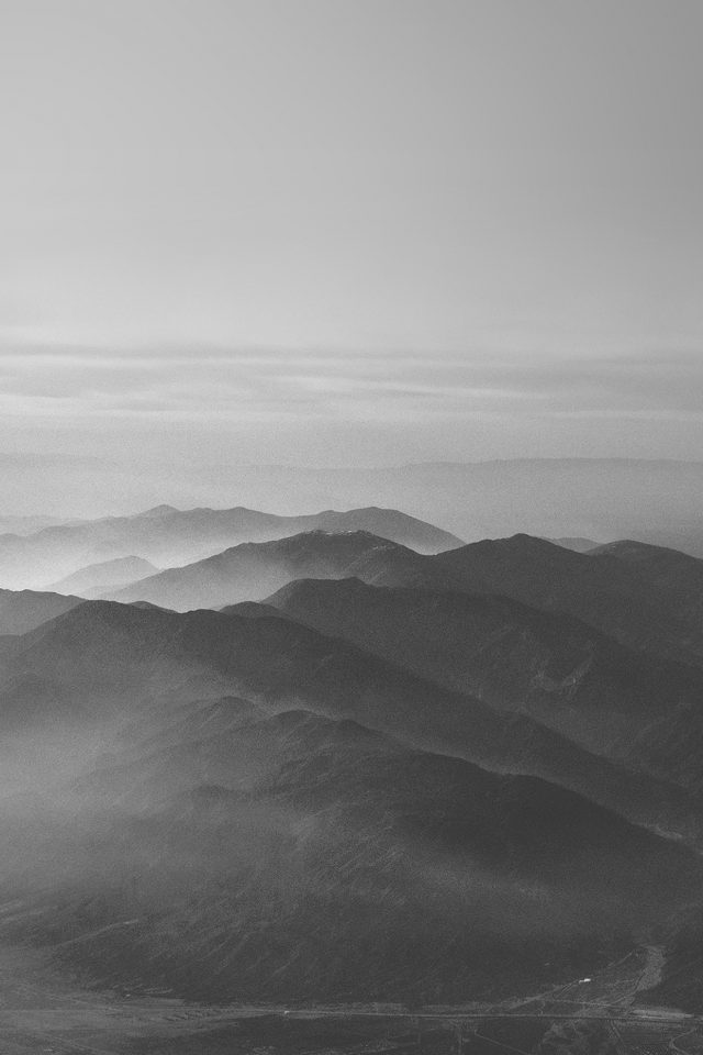 Mountain Fog Nature Dark Bw Gray Sky View Android wallpaper