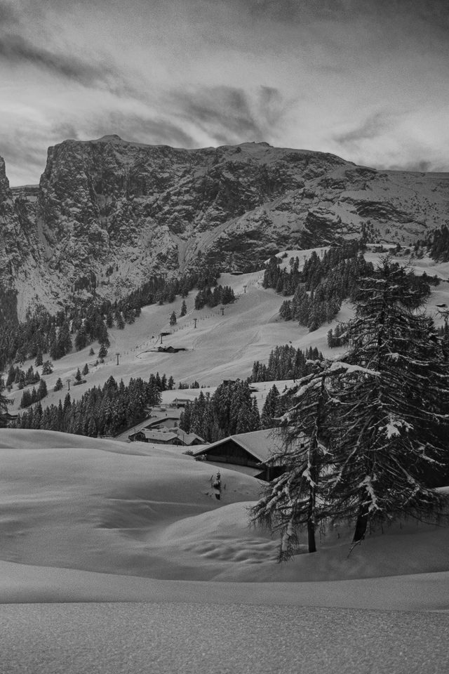 Mountain Green Snow Winter Nature Ski Dark Bw Android wallpaper