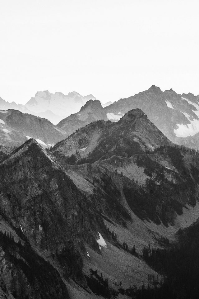 Mountain Layer View Nature Top Bw Dark Android wallpaper
