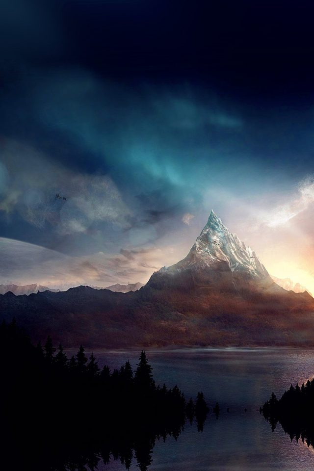 Mountain Nature Fantasy Art Illustration Android wallpaper
