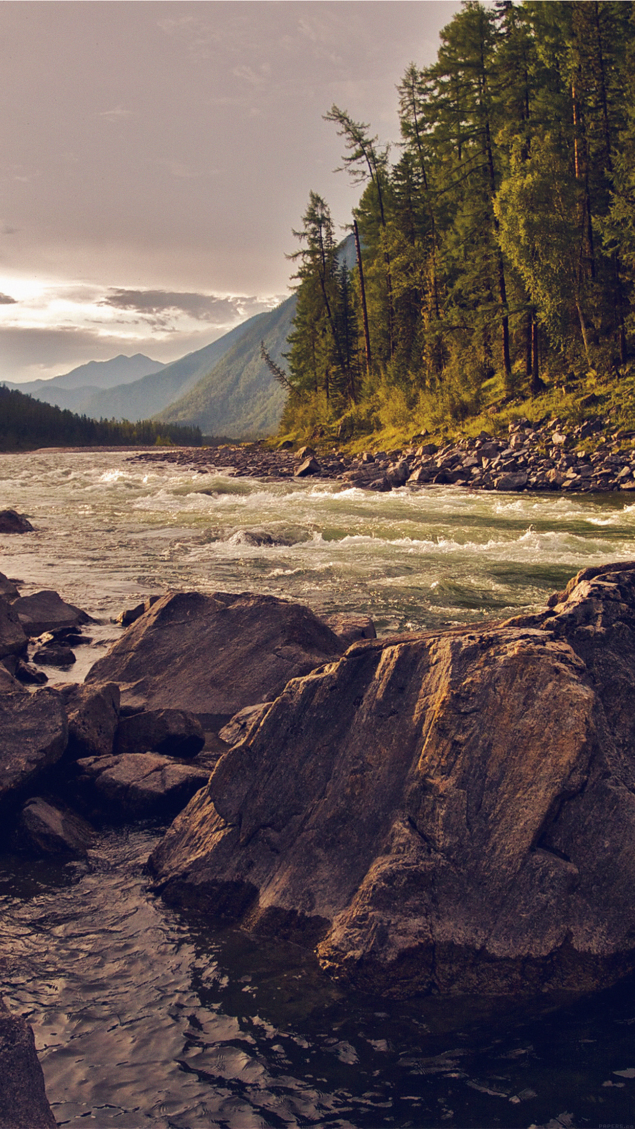 Mountain River Lake Nature Summer Cam Android wallpaper