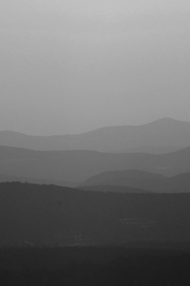 Mountain Silhouette Dark Bw Morning Nature Android wallpaper